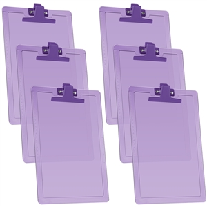 "Acrimet Clipboard Letter Size A4 (13 3/8"" x 9 7/16"") Premium Metal Clip (Plastic) (Clear Purple Color) (6 Pack)"