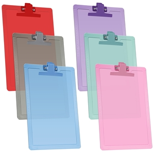 "Acrimet Clipboard Letter Size A4 (13 3/8"" x 9 1/2"") Premium Metal Clip (Plastic) (Assorted Colors) (6 Pack)"