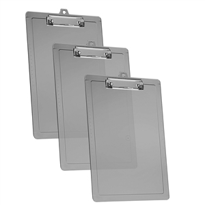 Acrimet Clipboard Letter Size Low Profile Clip (Plastic) (Smoke Color) (3 Pack)