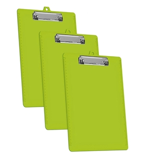 Acrimet Clipboard Letter Size Low Profile Clip (Green Citrus Color) (3 - Pack) Code 134.1-VC