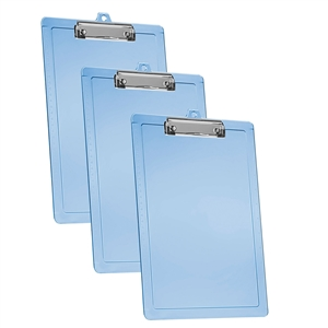 Acrimet Clipboard Letter Size Low Profile Clip (Plastic) (Blue Color) (3 Pack)
