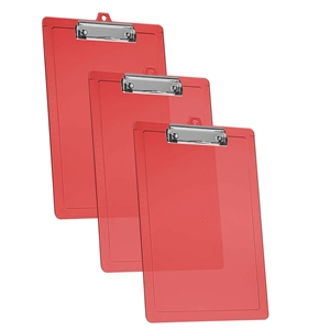 Acrimet Clipboard Letter Size Low Profile Clip (Plastic) (Clear Red Color) (3 Pack)