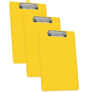 Acrimet Clipboard Low Profile Clip Letter Size (Yellow Color) (3 Pack)