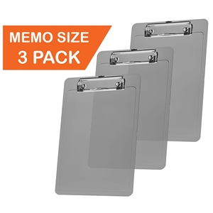 "Acrimet Clipboard Memo Size A5 (9 1/4"" x 6 5/16"") Low Profile Clip (Plastic) (Smoke Color) (3 Pack)"