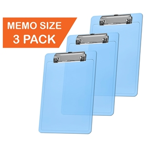 "Acrimet Clipboard Memo Size A5 (9 1/4"" x 6 5/16"") Low Profile Clip (Plastic) (Clear Blue Color) (3 Pack)"
