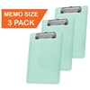"Acrimet Clipboard Memo Size A5 (9 1/4"" x 6 5/16"") Low Profile Clip (Plastic) (Clear Green Color) (3 Pack)"