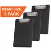 "Acrimet Clipboard Memo Size A5 (9 1/4"" x 6 5/16"") Low Profile Clip (Plastic) (Black Color) (3 Pack)"