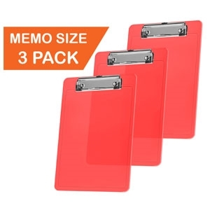 "Acrimet Clipboard Memo Size A5 (9 1/4"" x 6 5/16"") Low Profile Clip (Plastic) (Clear Red Color) (3 Pack)"