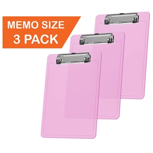 "Acrimet Clipboard Memo Size A5 (9 1/4"" x 6 5/16"") Low Profile Clip (Plastic) (Clear Pink Color) (3 Pack)"