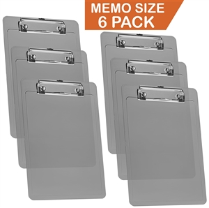 "Acrimet Clipboard Memo Size A5 (9 1/4"" x 6 5/16"") Low Profile Clip (Plastic) (Smoke Color) (6 Pack)"
