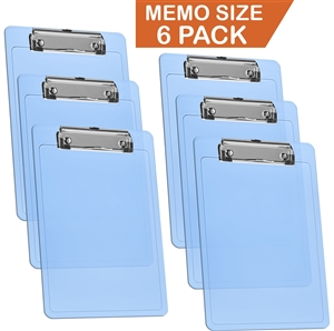 "Acrimet Clipboard Memo Size A5 (9 1/4"" x 6 5/16"") Low Profile Clip (Plastic) (Clear Blue Color) (6 Pack)"