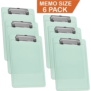 "Acrimet Clipboard Memo Size A5 (9 1/4"" x 6 5/16"") Low Profile Clip (Plastic) (Clear Green Color) (6 Pack)"
