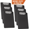 "Acrimet Clipboard Memo Size 9 1/4"" x 6 5/16"" Low Profile Clip (Plastic) (Black Color) (6 Pack)"