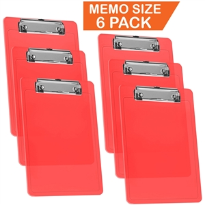 "Acrimet Clipboard Memo Size A5 (9 1/4"" x 6 5/16"") Low Profile Clip (Plastic) (Clear Red Color) (6 Pack)"