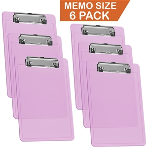 "Acrimet Clipboard Memo Size A5 (9 1/4"" x 6 5/16"") Low Profile Clip (Plastic) (Clear Pink Color) (6 Pack)"