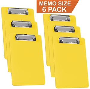 "Acrimet Clipboard Memo Size A5 (9 1/4"" x 6 5/16"") Low Profile Clip (Plastic) (Solid Yellow Color) (6 Pack)"