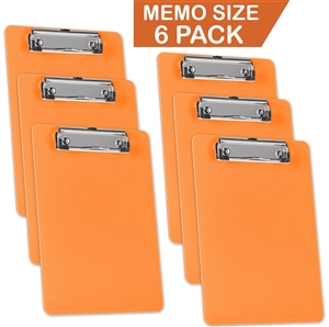 "Acrimet Clipboard Memo Size 9 1/4"" X 6 5/16"" Low Profile Clip (Orange Citrus Color) (Pack - 6) Code 137C.LC"