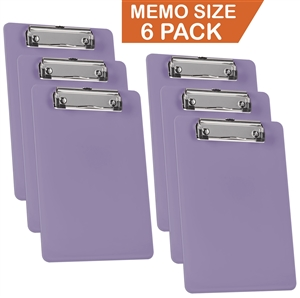 "Acrimet Clipboard Memo Size A5 (9 1/4"" x 6 5/16"") Low Profile Clip (Plastic) (Solid Purple Color) (6 Pack)"
