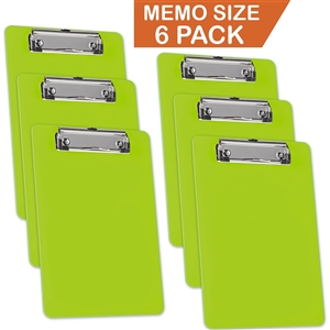 "Acrimet Clipboard Memo Size 9 1/4"" x 6 5/16"" Low Profile Clip (Green Citrus Color) (Pack - 6) Code 137C.VC"