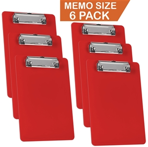 "Acrimet Clipboard Memo Size 9 1/4"" x 6 5/16"" Low Profile Clip (Solid Red Color) (Pack - 6) Code 137C.VMO"