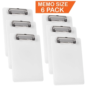 "Acrimet Clipboard Memo Size A5 (9 1/4"" X 6 5/16"") Low Profile Clip (Plastic) (White Color) (6 Pack)"