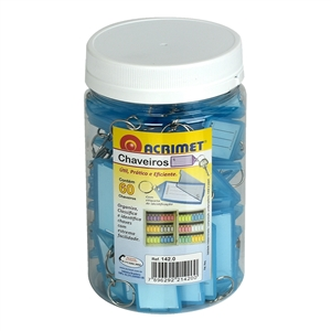 Acrimet Key Tag Jar w/60 Keyring Tags (Clear Blue Color) Code 142.5