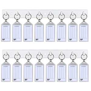 Acrimet Key Tag Rack w/8 Keyring Tags 2-Pack (White with Crystal Color) Code 143.4