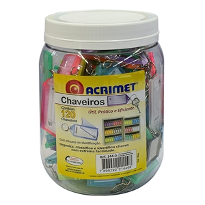 Acrimet Key Tag Jar w/120 Keyring Tags (Assorted Colors) Code 144.0