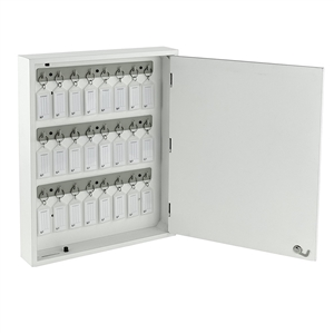 Acrimet Key Cabinet Organizer 24 Positions with Lock (Wall Mount) (24 Crystal Tags Included) (White Cabinet)