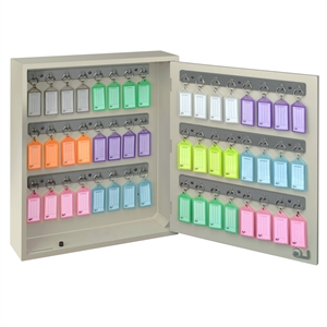 Acrimet Key Cabinet Organizer 48 Positions with Lock (Wall Mount) (48 Multicolored Tags Included) (Beige Cabinet)