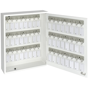 Acrimet Key Cabinet Organizer 48 Positions with Lock (Wall Mount) (48 Crystal Tags Included) (White Cabinet)