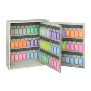 Acrimet Key Cabinet Organizer 96 Positions with Lock (Wall Mount) (96 Multicolored Tags Included) (Beige Cabinet)