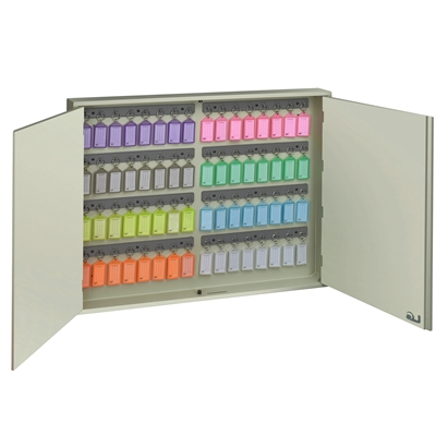 Acrimet Key Cabinet Organizer 64 Positions with Lock (Wall Mount) (64 Multicolored Tags Included) (Beige Cabinet)
