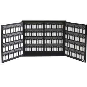 Acrimet Key Cabinet Organizer 128 Positions with Lock (Wall Mount) (128 Smoke Tags Included) (Black Cabinet)