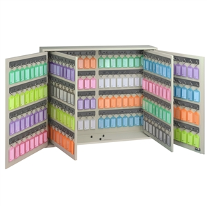 Acrimet Key Cabinet Organizer 256 Positions with Lock (Wall Mount) (256 Multicolored Tags Included) (Beige Cabinet)