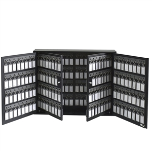 Acrimet Key Cabinet Organizer 256 Positions with Lock (Wall Mount) (256 Smoke Tags Included) (Black Cabinet)