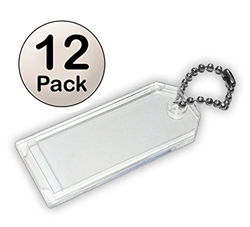 Premium Key Tag 3″ Crystal Color (12 Pack) (With Chain) Code 207.7