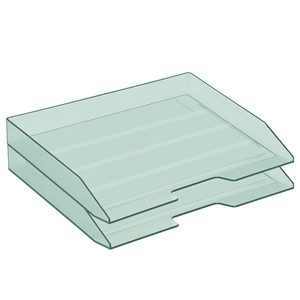 Acrimet Stackable Letter Tray 2 Tier Side Load Plastic Desktop File Organizer (Clear Green Color) Code.218.5