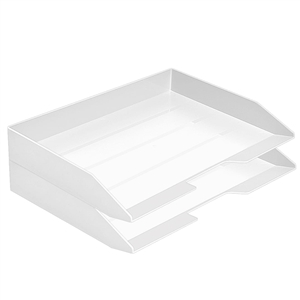 Acrimet Stackable Letter Tray 2 Tier Side Load Plastic Desktop File Organizer (White Color) Code.218.B.O