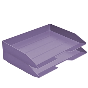 Acrimet Stackable Letter Tray 2 Tier Side Load Plastic Desktop File Organizer (Solid Purple Color) Code.218.L.O