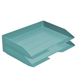 Acrimet Stackable Letter Tray 2 Tier Side Load Plastic Desktop File Organizer (Solid Green Color) Code.218.V.O