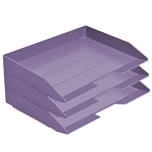 Acrimet Stackable Letter Tray 3 Tier Side Load Plastic Desktop File Organizer (Solid Purple Color) Code.219.L.O