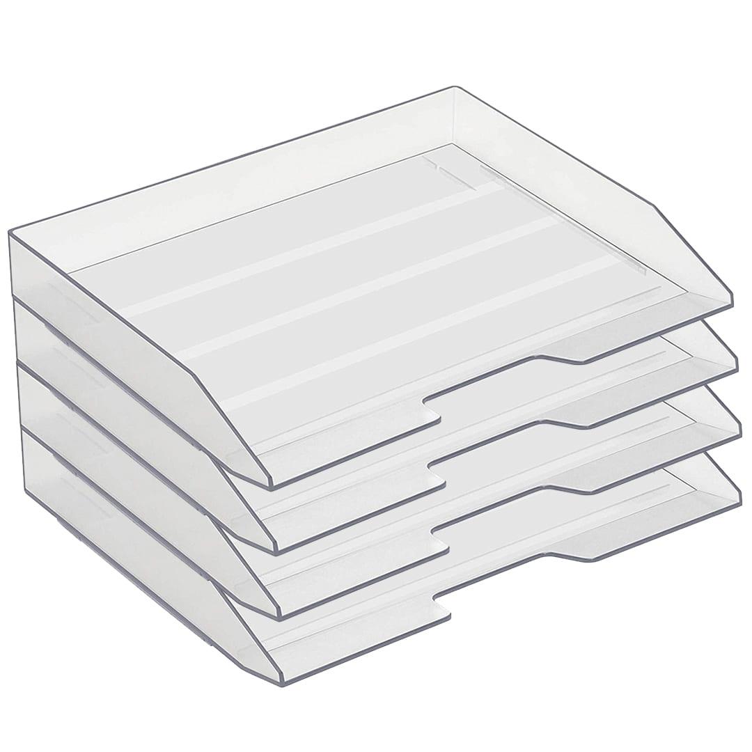 White Color Acrimet Stackable Letter Tray 3 Tier Side Load Plastic Desktop File Organizer
