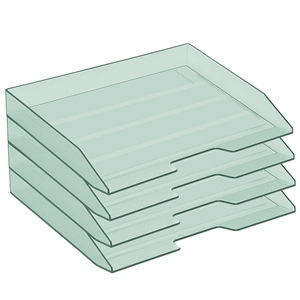 Acrimet Stackable Letter Tray 4 Tier Side Load Plastic Desktop File Organizer (Clear Green Color) Code.220.5