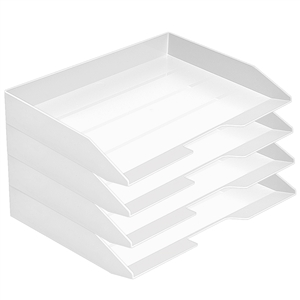 Acrimet Stackable Letter Tray 4 Tier Side Load Plastic Desktop File Organizer (White Color) Code.220.B.O
