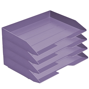 Acrimet Stackable Letter Tray 4 Tier Side Load Plastic Desktop File Organizer (Solid Purple Color) Code.220.L.O