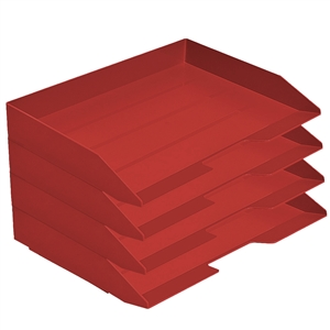 Acrimet Stackable Letter Tray 4 Tier Side Load Plastic Desktop File Organizer (Solid Red Color) Code.220.VM.O