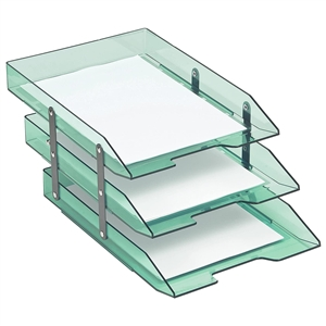 Acrimet Collapsible Articulated Letter Tray Triple (Clear Green Color) Code 245.5