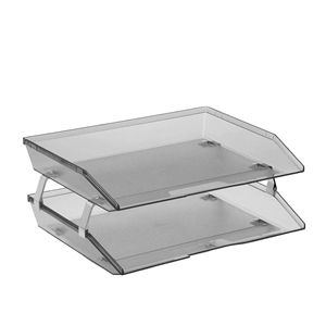 Acrimet Facility 2 Tiers Double Letter Tray (Smoke Color)
