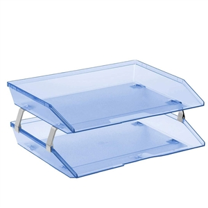 Acrimet Facility 2 Tiers Double Letter Tray (Clear Blue Color) Code 253.2